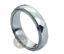 Ladies 6mm Stepped Edge High Polished faceted Cut Tungsten Ring TS0900