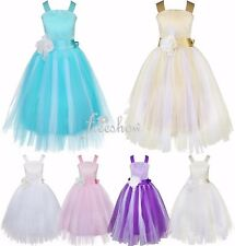 Flower Girls Straps Tulle Dress Flower Wedding Bridesmaid Party Formal Gown 2-14
