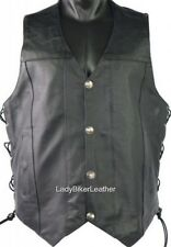 Mens BUFFALO NICKEL Black PREMIUM Leather CONCEALED CARRY Motorcycle Vest LACES