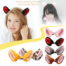 Fashion Charming Women Lady Cosplay Party Cat Ear Fur Hair Clip Party Costume LN