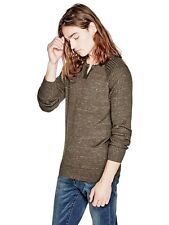 Guess Sweater Pullover Mens Fronko Heathered Jumper M L or XL Brown Suede NWT