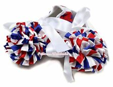 4TH July Baby USA Flag Star White Ribbon Crib Shoe with Stripe Roses NB-18Month