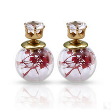 Women Flower Crystal Glass Earrings Studs Ball Double Sided Earring Jewelry