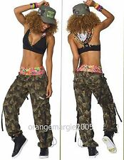 ZUMBA Nation 2Pc.Set!! Mashed Up Cargo Capri Pants + Hooded Bra Top RARE!! S M L