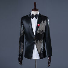 Mens Sequins Blazer Sequin Tuxedo Suit Slim Fit Jacket Wedding Coat One Button J