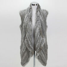 Women's Real Rabbit Fur Knit Irregular Top Coming Gilet Knitted Vest Waistcoat