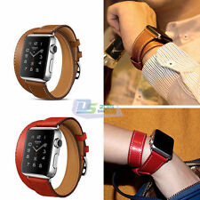 Durable Retro Men Leather Watch Band Vintage Band Bracelet Strap For iWatch 38mm
