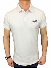 Mens Size Large Superdry Classic New Fit Pique Polo Shirt in Optic White