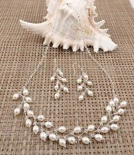 Vintage White Rice Pearl Crystal Sterling Silver Chain Necklace Earrings Set