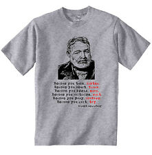 ERNEST HEMINGWAY 1- NEW  COTTON GREY TSHIRT- S-M-L-XL-XXL