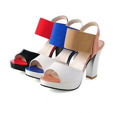 NEW Women paltform open toe stitching sling backs Peep Toe high thick heel shoes