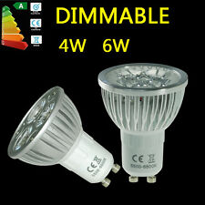 4W 6W GU10 Led Bulbs Dimmable Spot Light Day Warm White Energy Saving Lamp UK