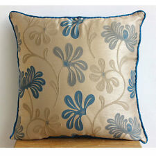 Teal Florals - 30x30 cm Jacquard Weave Teal Blue Decorative Cushion Cover