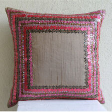 Pretty Pink Flowers - 50x50 cm Art Silk Pink Cushions Cover