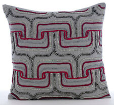 Beaded Maze 65x65 cm Cotton Linen Grey Euro Cushion Covers - Tranquility