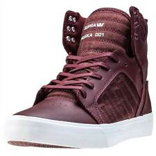 Supra Skytop Mens Trainers Burgundy White New Shoes