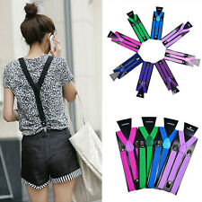 New Colorful Mens Womens Clip-on Suspenders Elastic Y-Shape Adjustable Braces