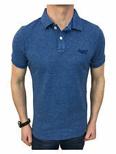 Superdry Mens Vintage Destroyed Pique Polo Shirt in Storm Cobalt Small