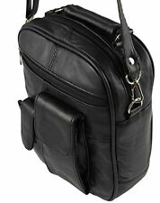 Mens Womans Messenger Man Bag Black Genuine Leather Shoulder Cross Over Body Bag