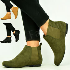 New Womens Pull On Low Heel Chelsea Ankle Boots Ladies Pixie Smart Shoes Size Uk