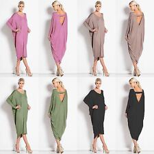 WOMENS BACKLESS LONG SLEEVE BAGGY COCKTAIL PARTY CLUB WEAR MIDI DRESS PLUS SIZE