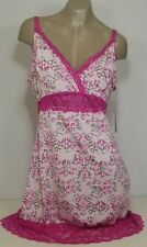 Delta Burke Plus Size 1X 2X 3 Printed Microfiber Chemise With Lace NWT $36