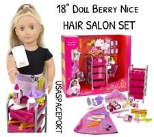 "18"" Doll DELUXE Berry Nice Hair-Stylist SALON SET 4 Our Generation American Girl"