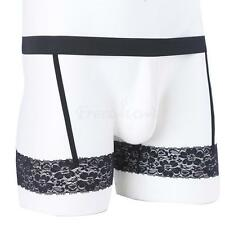 Sexy Mens Lingerie Boxer Brief Lace Garter Belt Underwear Shorts Underpants M-XL