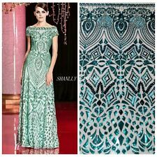 SALE Occident Sequin Mesh Fabric Lace Dress Gown Bridal Party Runway 51''/Yard