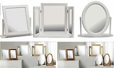Square Oval Triple Fold Dressing Table Mirror White Wooden Frame Home Decor Gift