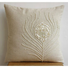 Pearly Peacock Feather - 40x40 cm Cotton Linen Ecru Throw Cushion Covers