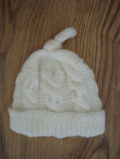 HAND KNITTED CABLED TOP KNOT HAT - 4 SIZES - IN WHITE WITH SPARKLE