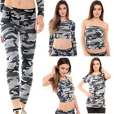 Womens Ladies Army Camouflage Print Stretch Legging Cami Crop Top Vest Top
