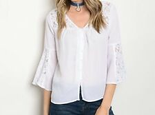 Lace Trim Blouse Lace Inset Peasant Top Fashion White Bell Sleeve Peasant Blouse