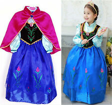 Anna Princess Cosplay Clothes Girls Costume Party Fancy Frozen Snow Queen Dress