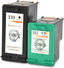 2 printer cartridges Ink Cartridges compatible with HP 343 + 339 Set