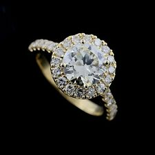 18k Yellow Gold Halo Diamonds 1cttw Engagement Ring Forever One Moissanite