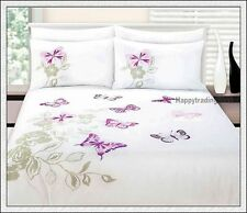 280TC White Stone Pink Butterfly Embroidery 3pc KING QUEEN QUILT DOONA COVER SET