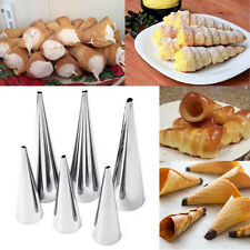 3pcs Stainless Steel Cream Horn Molds Set Filled Dessert Pastry Cone Metal Forms