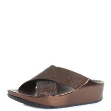 Womens FitFlop Crystall Slide Bronze Wedge Metallic Crossover Sandals Shu Size