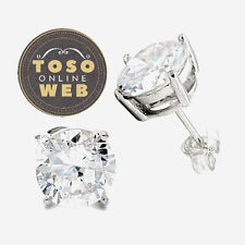 .925 Sterling Silver Stud Earrings Prong Set Round & Princess Cut Clear CZ