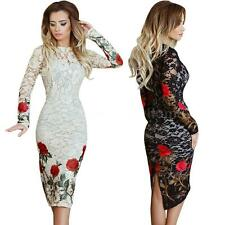 Women Elegant Bodycon Semi Sheer Lace Floral Embroidery Dress Long Sleeves L6H7