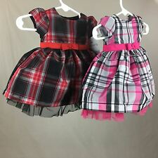 Baby Girl Newborn 3M Lined Dresses Diaper Pants Red or Pink Plaid Carter's Nwt