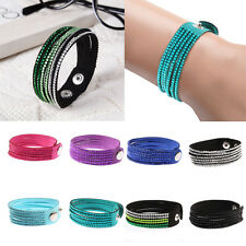 New Fashion Crystal Rhinestone Leather Bracelet Wrap Wristband Cuff Punk Bangle