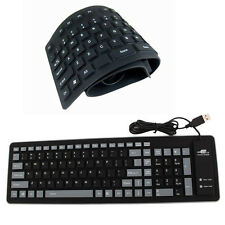 Portable USB 2.0 Silicone Roll Up Foldable PC Computer Keyboard Black 85/109Keys