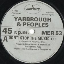 """Yarbrough And Peoples-Don't Stop The Music 7"""" 45-Mercury, MER 53, 1980, Plain Sl"""
