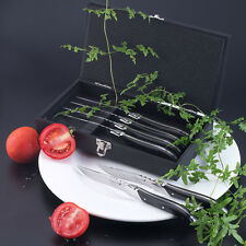 6pc Laguiole Style Stainless Steel Dinner Steak Knife set with Handle in Woodbox