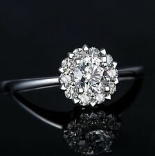 18K White Gold GP snowflake Austrian Crystal CZ Zircon tail Ring band R50