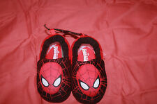 Boy's Spider Man Slippers Size Small 5/6 Black/Red Brand New
