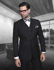 MENS 3 PC 2 BUTTON BLACK WINDOWPANE 150S WOOL BUSINESS EVENING SUIT Modern Fit